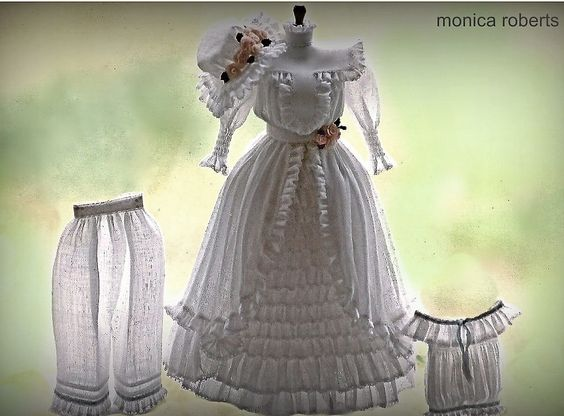 1:12th scale miniature Edwardian dress, bloomers and camisole