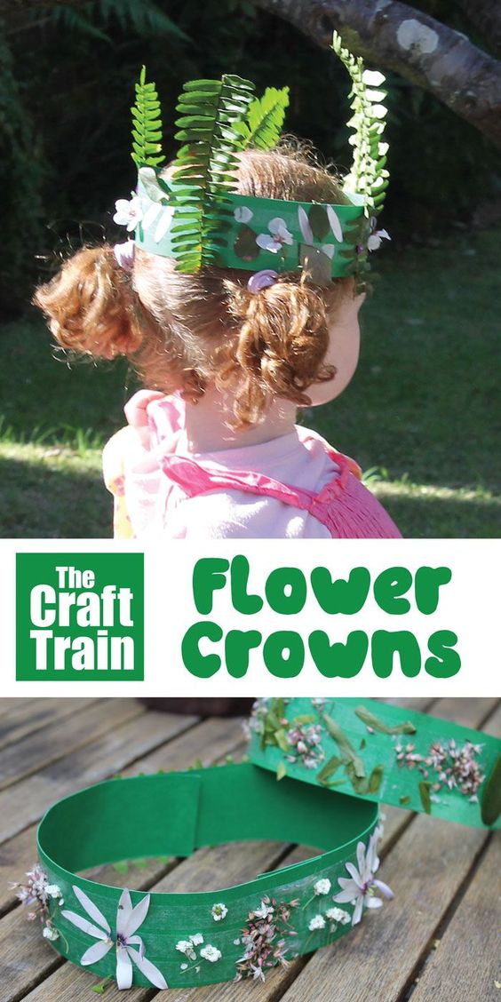 Flower crown kids can make – a great way to inspire imaginary play and get kids being creative outdoors. Perfect for preschoolers!  #flowers #flowercrown #flowercraft #summer #spring #nature #naturecraft #pretendplay #crown #naturecrown #thecrafttrain