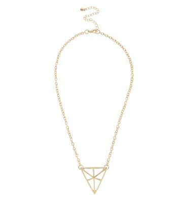 Gold 3D Triangle Pendant Necklace | NewLook | £2.99