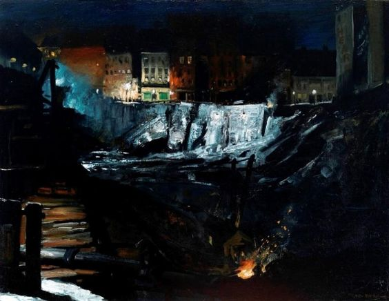 """George Bellows, """"An Excavation at Night"""" (1908). From An American Experiment: George Bellows and the Ashcan Painters, National Gallery 