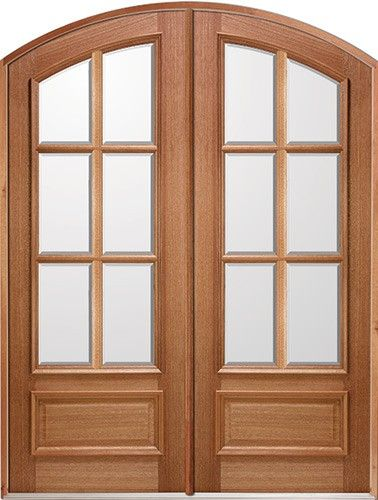 8 Foot Tall Mahogany Tiffany Arch Top Double Wood Entry Door Great For Front Or Back Door