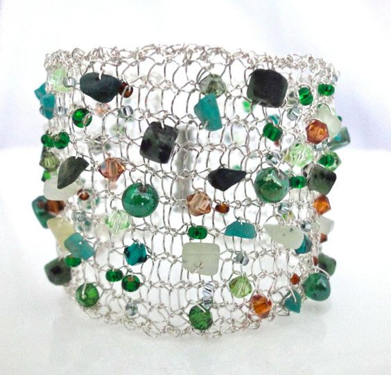 Silver knitted wire bracelet with green gemstones and crystals, by PollyAJewellery