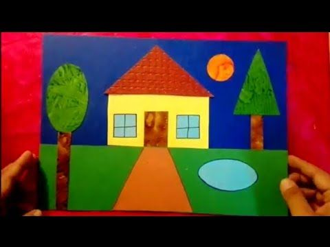 How To Make Scenery Of House Using Geometrical Shapes For Kids Step By Step Youtube Geometric Shapes Art Shapes For Kids Preschool Art Activities
