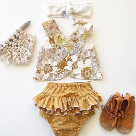 Cute Newborn Baby Girls Ruffles Clothes Tops Romper Long Pants Shorts Outfit Set