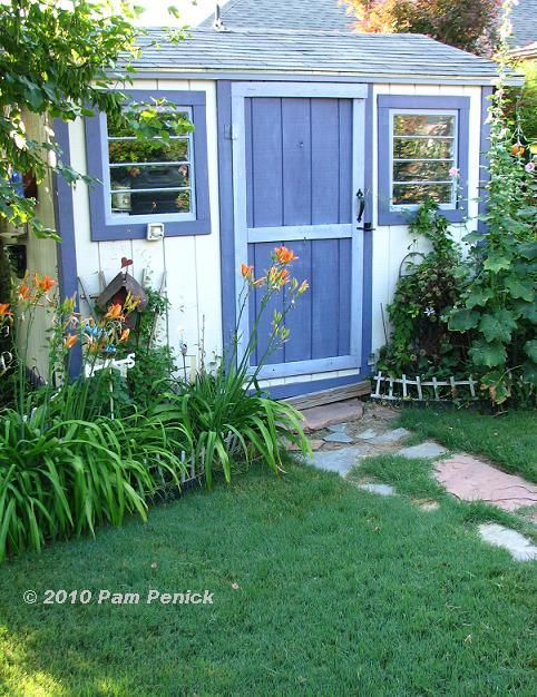Blue white garden shed garden pinterest gardens garden sheds and sheds for Name something you keep in a garden shed