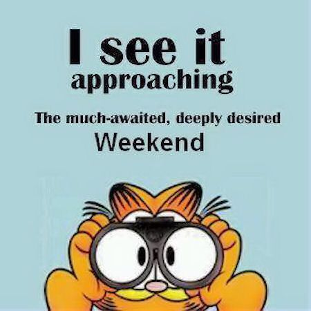 XX The Weekends Approachig quotes cute quote cartoons garfield weekend weekend quotes