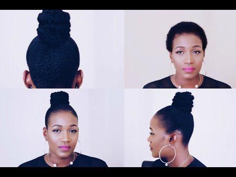 Ninja Bun On Short Natural Hair Youtube Natural Hair Styles Short Hair Bun Short Natural Hair Styles