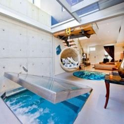indoor lap pool inside a small house!