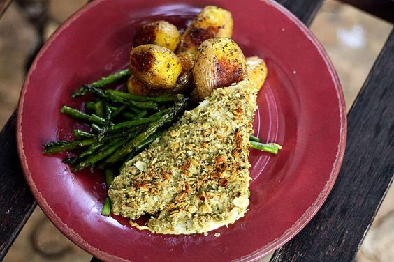This is a very simple fish recipe that makes you feel like you're eating at a high-end restaurant.  You can use pecans, macadamia nuts, or breadcrumbs if y