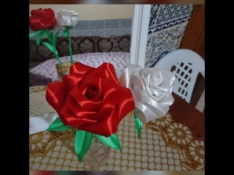 Diy Satin Ribbon Rose طريقة عمل وردة من الساتان Youtube Satin Ribbon Roses Ribbon Roses Make It Yourself