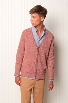 """Heirloom.  100% cotton, L/S ribbed cardigan, 7gg cotton sweater knit. """"hot toddies and sex studies.""""  $119.99"""