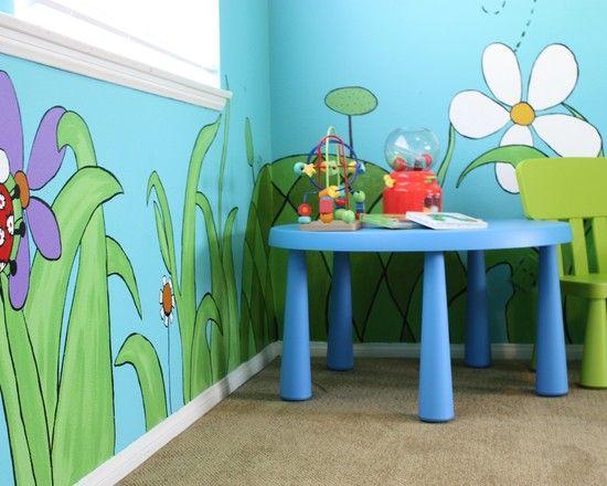Daycare design car themed nursery and church design on for Church nursery mural ideas