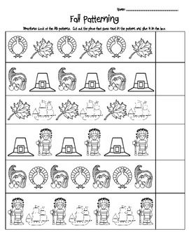 FALL AB PATTERNING WORKSHEET   TeachersPayTeachers.com | Seasonal .