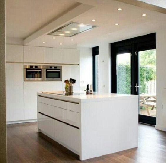 Keuken met kastenwand en kookeiland kitchen idea 39 s pinterest met - Deco keuken kleur ...