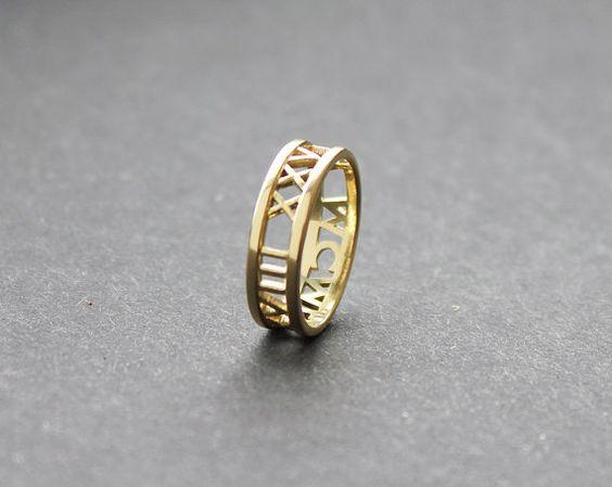Banda de bodas de oro de 14 k anillo de números por capucinne