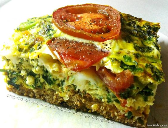 Chipotle Tomato & Kale Breakfast Sausage Egg Bake  @Healthi linguist: Food Breakfast, Paleo Breakfast, Eggseptional Recipes, Kale Egg, Kale Breakfast, Breakfast Sausages