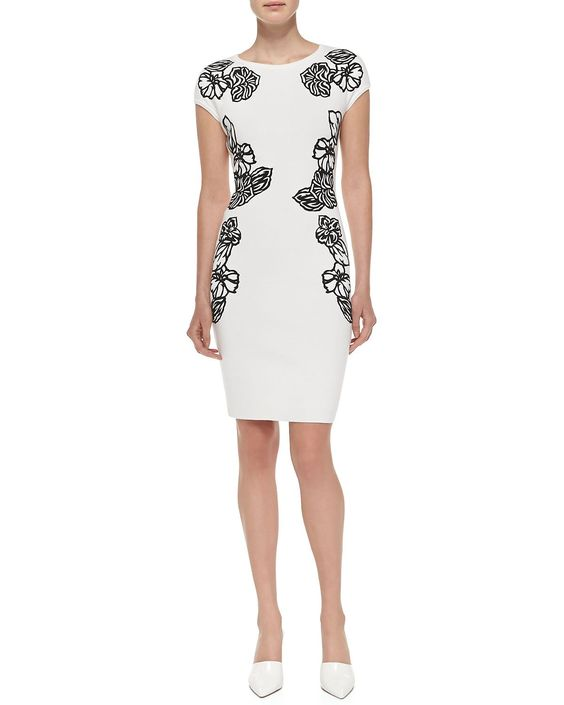 Cap-Sleeve Dress w/ Embroidered Flowers