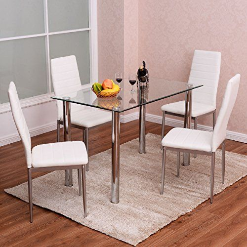 Tangkula 5 Pcs Dining Table Set Glass Table And Metal Chairs Home Dinette Furniture White Dinette Furniture Modern Dining Table Dining Room Sets