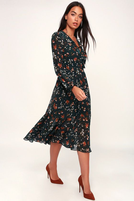 sale cheap price first rate Primrose Hill Forest Green Floral Print Long Sleeve Midi Dress ...