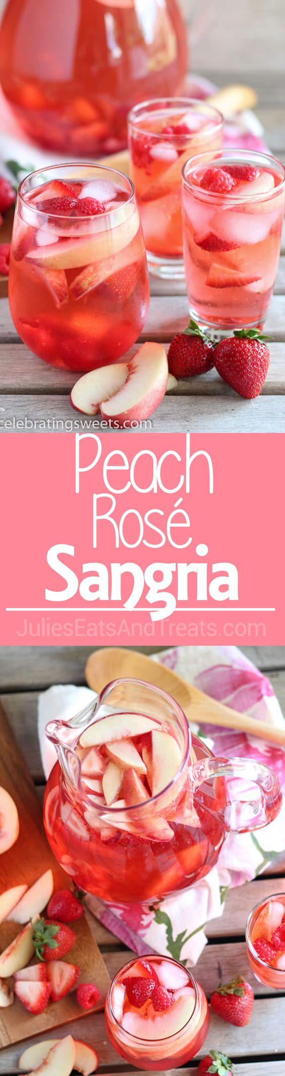 Peach Rosé Sangria - A beautiful summer sangria made of Rosé, peach juice, peach liqueur, fresh peaches, and berries.