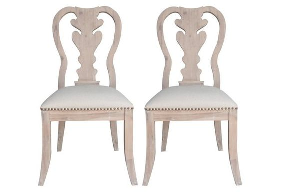 Stonewash Linen Side Chairs, Pair.  Elegant farmhouse rustic style chairs w/ petite bronze nailheads.