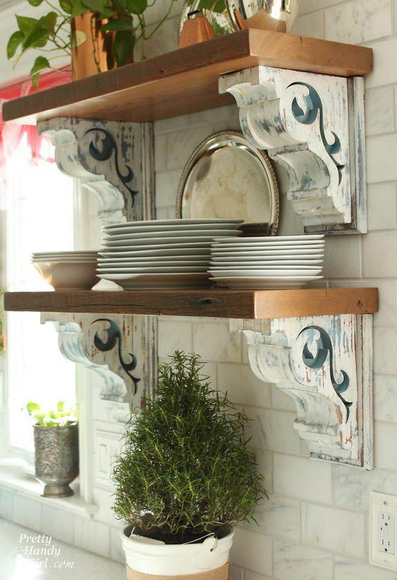 Corbels on open shelving via pretty handy girl for Decorative corbels interior design