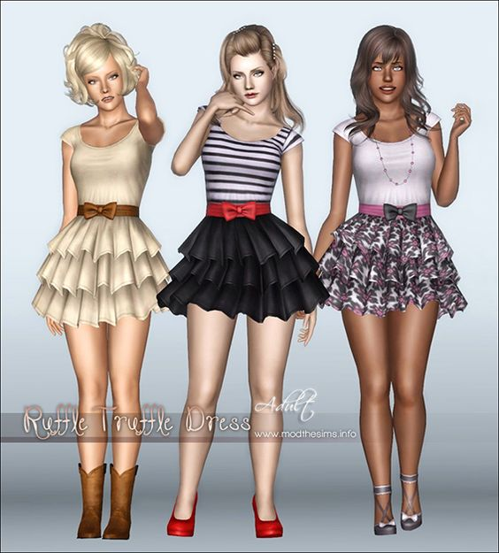 Sims 3 Download Dress Ruffle Truffle Gaming Pinterest