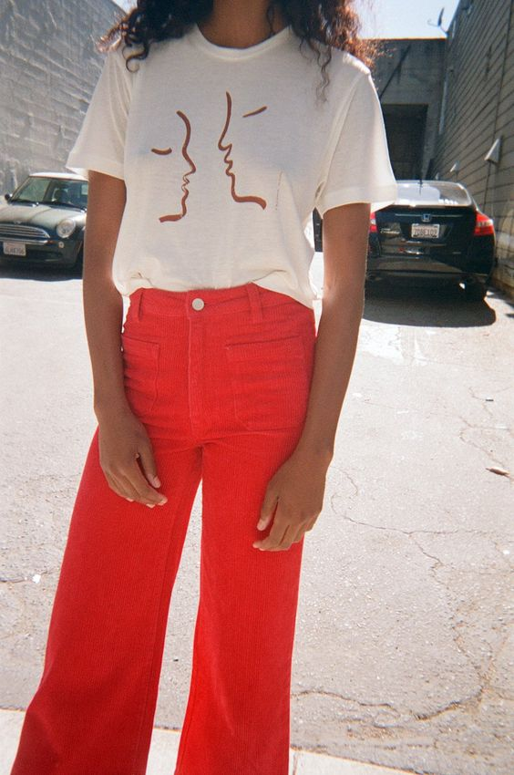 Cord Sailor Pant - Red