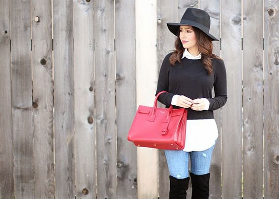 sweater + tunic love. Not those boots and that hat, though