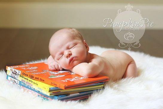 Baby asleep with Dr. Seuss