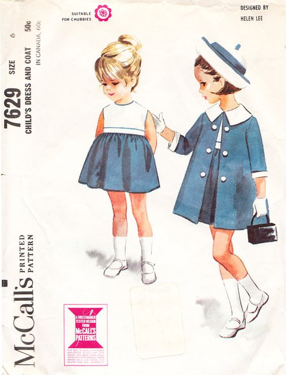 1960's Helen Lee High-Waisted Dress and Coat with Wide Collar for Girls and Toddlers - Vintage McCall's Sewing Pattern 7629 - Size 6