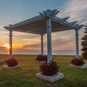 Lodge 14 5 Ft W X 15 Ft D Solid Wood Pergola Outdoor Pergola Vinyl Pergola Pergola Patio
