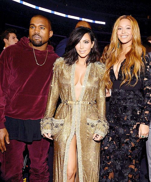 """Kanye West, Kim Kardashian and Beyonce at the 57th annual Grammy Awards in Los Angeles, California February 8, 2015. """