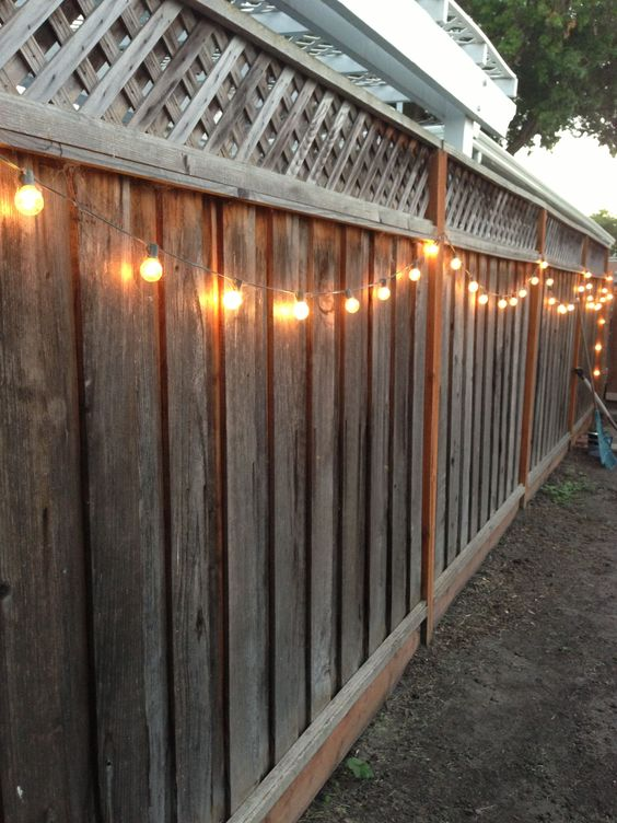 DIY backyard lighting. Hang lights on your fence! DIY Pinterest Gardens, Backyards and DIY ...