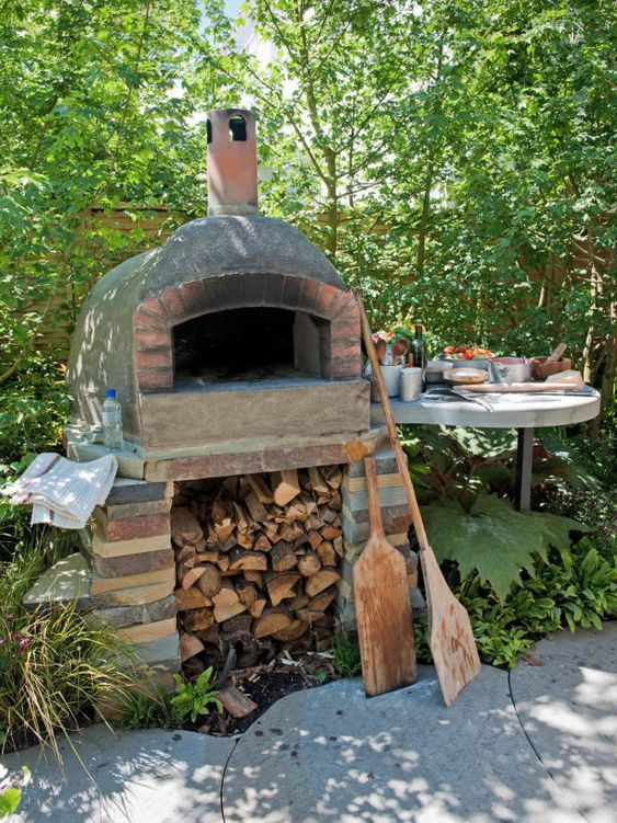 Outdoor pizza oven includes food preparation area home landscape pinterest pizza - Outdoor kitchen designs with pizza oven ...
