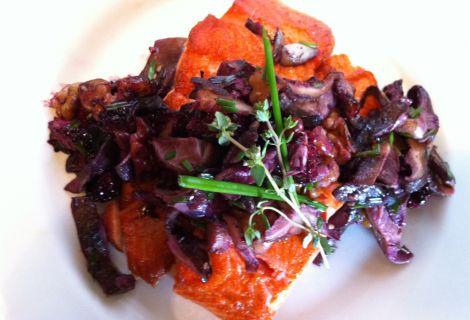 Salmon & Shiitake, Walnut, Blackberry, Garlic & Chive Compote - | FOO...