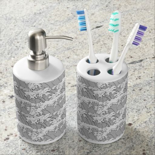 Ocean Wave Pattern Soap Dispenser And Toothbrush Holder
