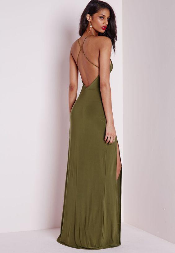 Slinky Side Split Maxi Dress Khaki - Dresses - Maxi Dresses ...