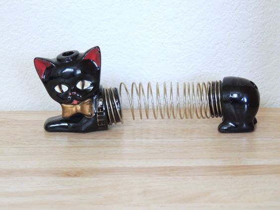 1950s Japan Pottery Black Cat Bill or Card by LavenderOwlVintage
