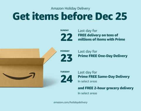 Aws Amazon Prime Members Can Shop Millions Of Items With Fast And Free Delivery Until Christmas Eve Aws Prime Techno Christmas Eve Delivery Signature Cards