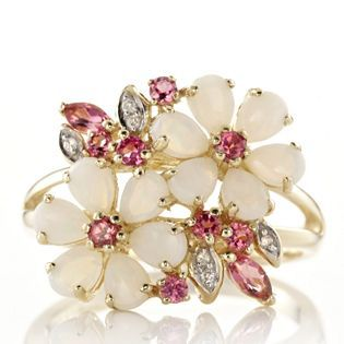 1.2ct Australian Opal & Pink Tourmaline Flower Ring 9ct Gold