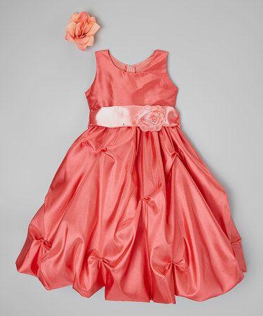 Another great find on #zulily! Coral Peach Flower Dress - Toddler & Girls #zulilyfinds