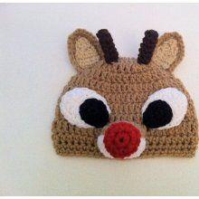Rudolph crochet hat