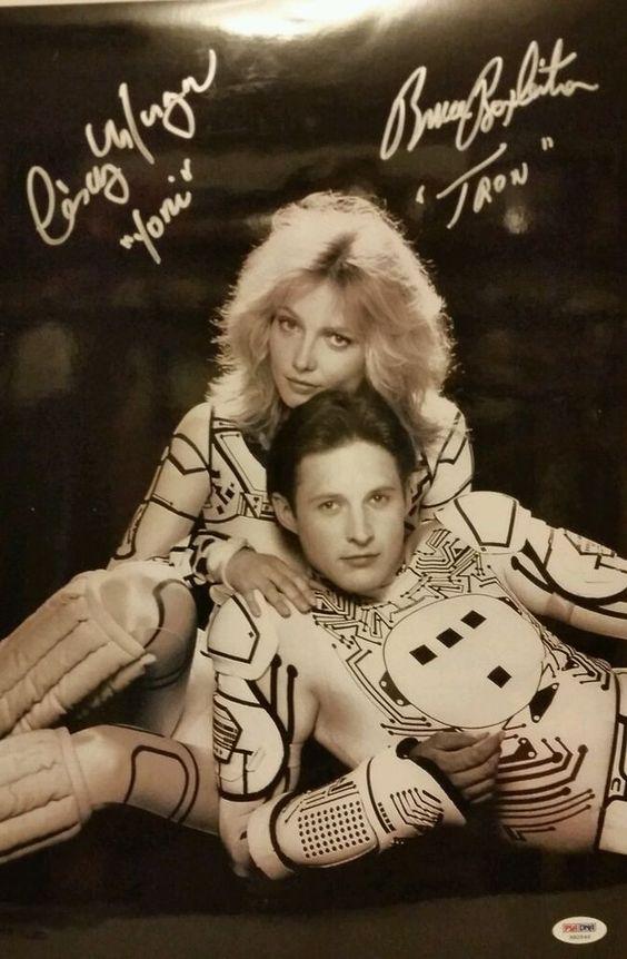 BRUCE BOXLIETER CINDY MORGAN Signed Autographed 12x18 Tron Photo PSA/DNA X82540