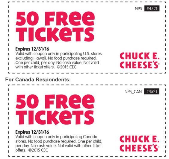 Chuck E Cheese 50 Free Tickets exp 123116