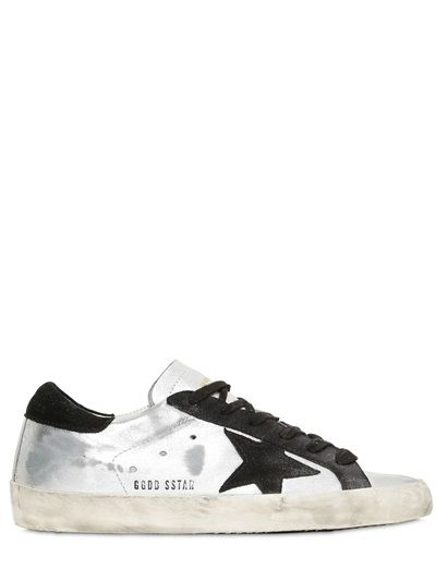 SUPER STAR METALLIC LEATHER SNEAKERS