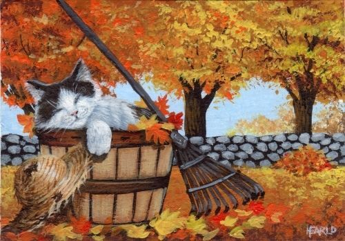 ACEO ORIGINAL CAT KITTEN CUTE FALL AUTUMN LANDSCAPE LEAVES TREES HAT COLORFUL #Realism