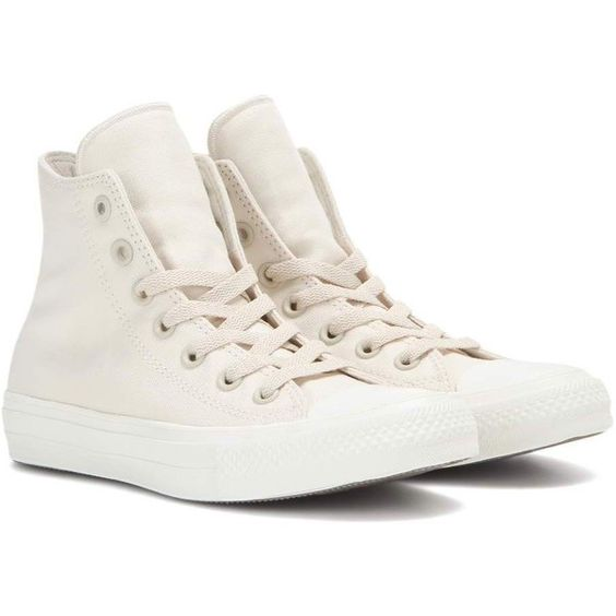 Converse Chuck Taylor All Star II High Top Sneakers (€57) ❤ liked on Polyvore featuring shoes, sneakers, neutrals, star sneakers, star shoes, converse sneakers, converse footwear and hi tops