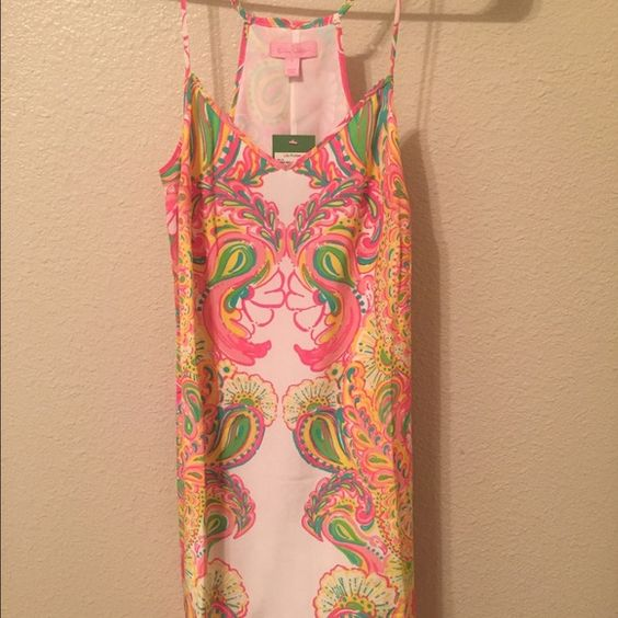 Lilly Pulitzer Dusk Dress Lilly Pulitzer Small Hottie Pink Double Trouble Dusk Silk Dress, New With Tags! The dusk dresses are so beautiful and fit perfectly with adjustable straps! Perfect summer dress! Lilly Pulitzer Dresses