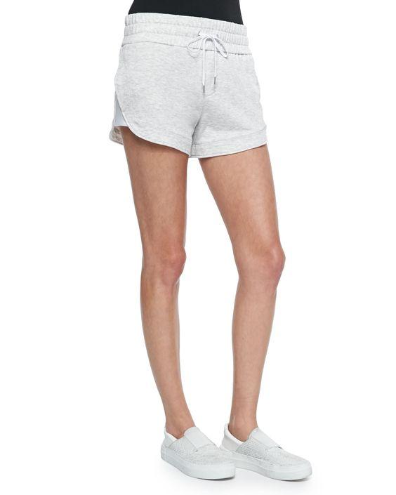 Spring Sweatshirt-Knit Drawstring Shorts